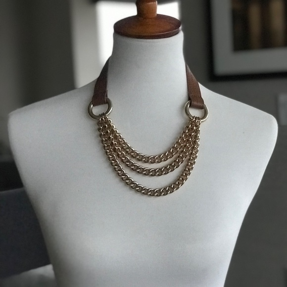 Real Leather and Gold Chain Necklace  Heavy chain